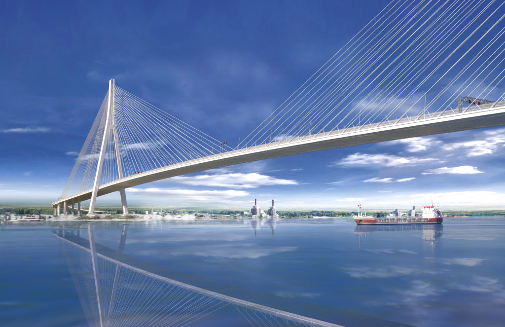 Artistic rendering of the Gordie Howe International Bridge